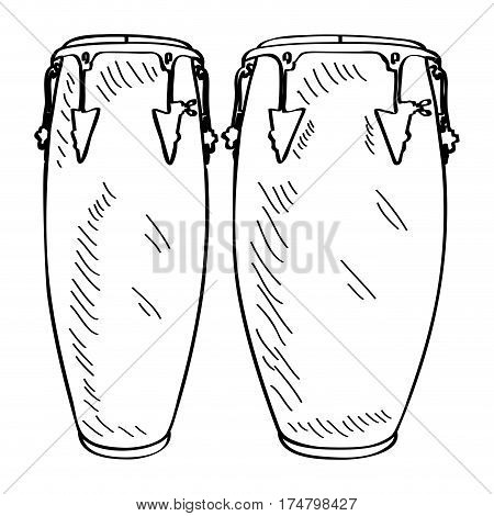 Isolated outline of conga drums, Vector illustration