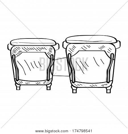 Isolated outline of bongo drums, Vector illustration