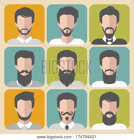 Vector set of different man with beards and moustache app icons in flat style