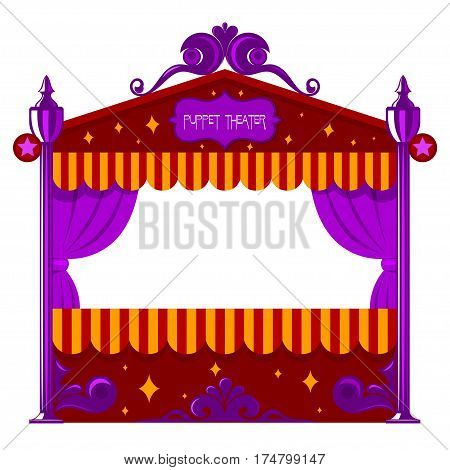 Purple children's a puppet theater on a white background. Vector illustration of a puppet show isolate. Cartoon style. Stock vector