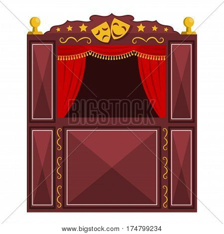 Children's a puppet theater on a white background. Vector illustration of a puppet show with masks isolate. Cartoon style. Stock vector