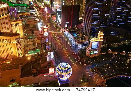 LAS VEGAS ,USA OCT 09: Night Panorama of Las Vegas Boulevard The Strip. Hotels and casinos of Las Vegas gambling capital. Night life. OCT 09 2016 Las Vegas Nevada USA