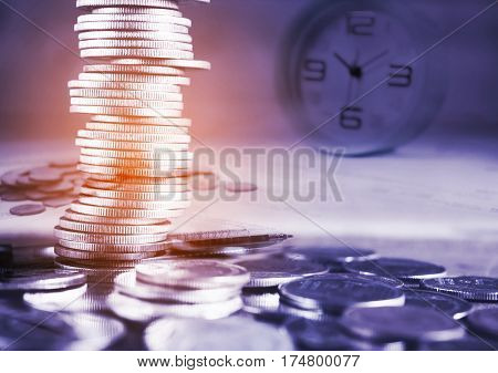Double exposure stack of coins and medication bill and time Money and save money concept