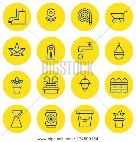 Set Of 16 Farm Icons. Includes Spigot, Garden Clothes, Decorative Plant And Other Symbols. Beautiful Design Elements.