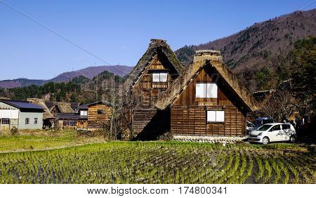Wooden Houses In Historic Villages Of Shirakawa-go