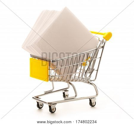 Market Pushcart With Sheets Of Paper