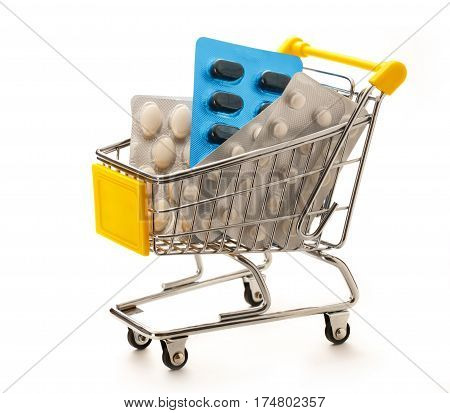 Market Pushcart With Packs Of Pills