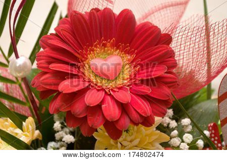 Red heart on red flower splendor of its beauty and freshness