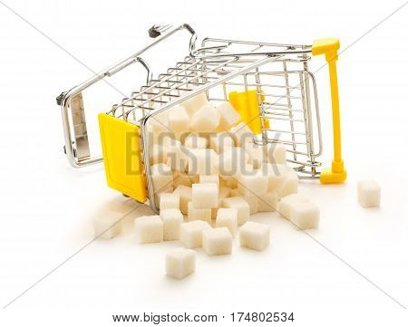 Turned Pushcart With Pile Of White Sugar