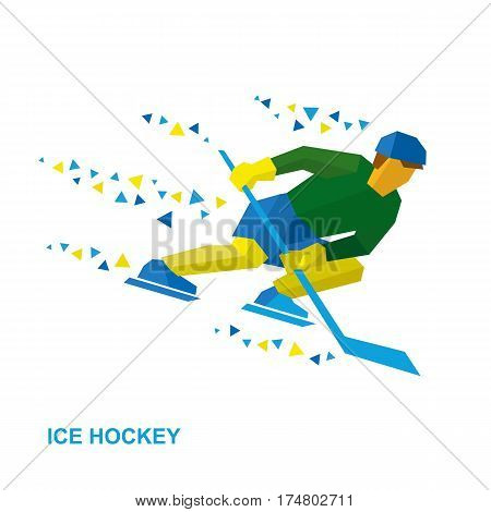 Ice Hockey Player With Stick Rides On Skates
