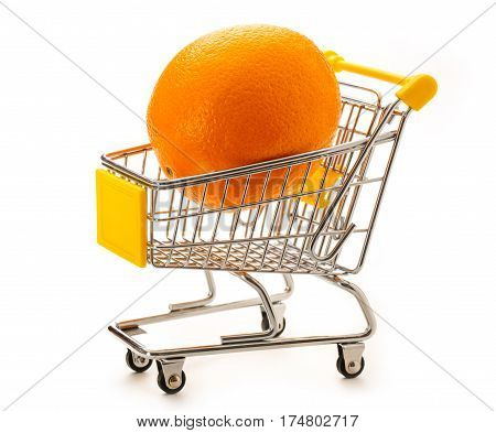 One Fresh Orange In Pushcart