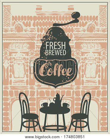Banner for a sidewalk cafe with a facade of the old building furniture and coffee grinder