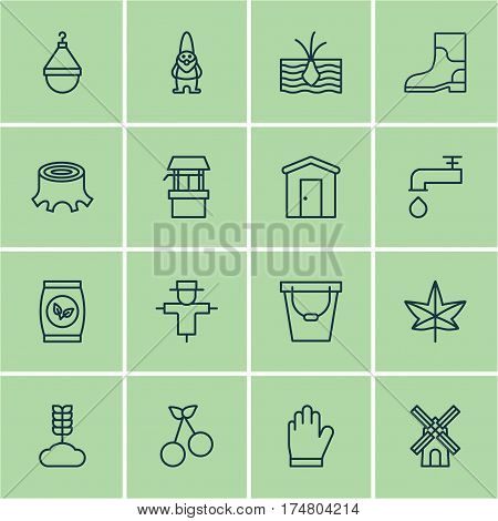 Set Of 16 Plant Icons. Includes Spigot, Grains, Tree Stub And Other Symbols. Beautiful Design Elements.