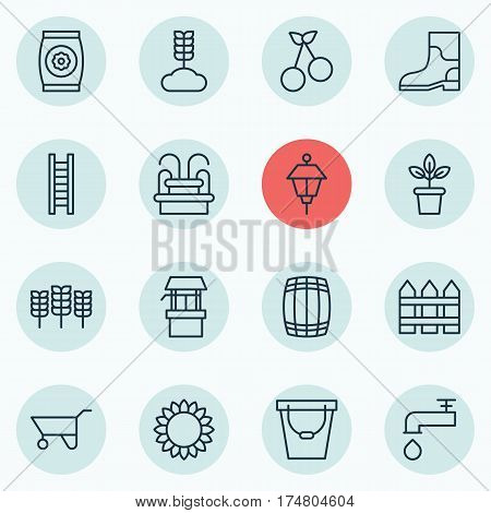 Set Of 16 Plant Icons. Includes Rubber Boot, Barrier, Cask And Other Symbols. Beautiful Design Elements.