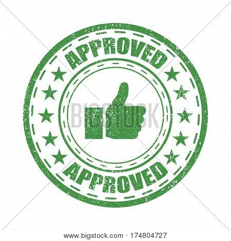 Approved rubber stamp vector illustration on white background. Approved vector stamp icon.