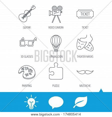 Puzzle, guitar music and theater masks icons. Ticket, video camera and 3d glasses linear signs. Entertainment, painting and mustache icons. Light bulb, speech bubble and leaf web icons. Vector