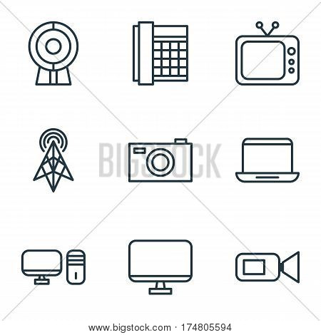 Set Of 9 Accesory Icons. Includes Notebook, Wireless Router, Computer Monitor And Other Symbols. Beautiful Design Elements.