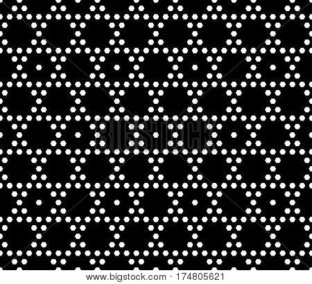 Vector monochrome seamless pattern. Simple geometric texture with small hexagons. Black and white illustration, hexagonal grid. Repeat abstract dark geometrical background. Decorative design element for prints, decoration, textile, digital, web