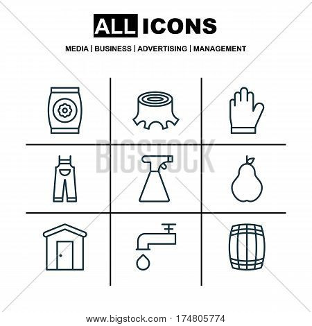 Set Of 9 Agriculture Icons. Includes Garden Clothes, Spigot, Protection Mitt And Other Symbols. Beautiful Design Elements.