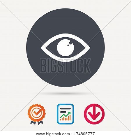 Eye icon. Eyeball vision symbol. Report document, award medal with tick and new tag signs. Colored flat web icons. Vector
