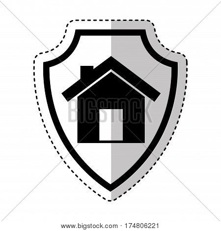shield insurance with house isolated icon vector illustration design