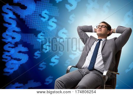 Businessman in dollar business concept