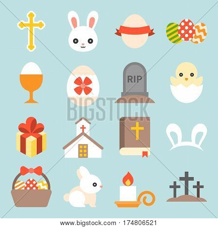 set of cute easter icon, flat design vector