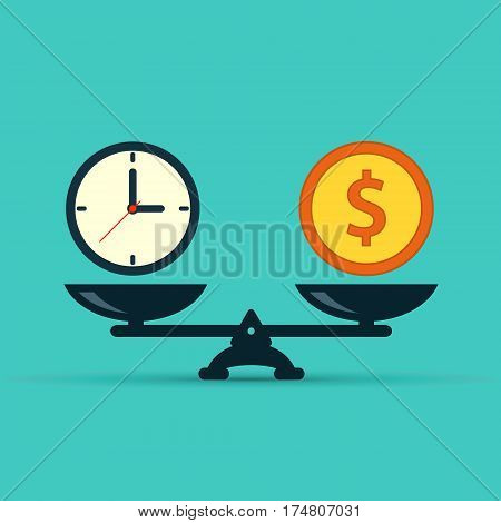Time is money on scales icon. Money and time balance on scale. Weights with clock and money coin. Vector isolated sign.