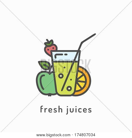 Fresh juices icon. Healthy diet, organic vegetarian food concept