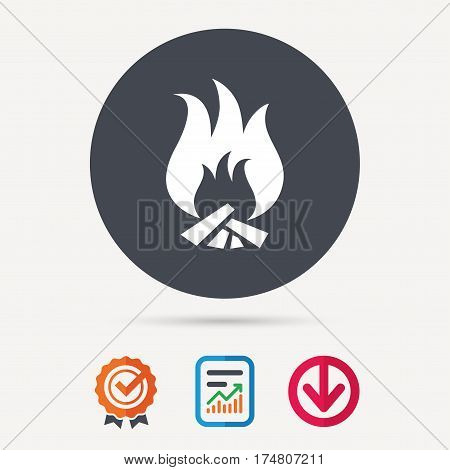 Fire icon. Blazing bonfire flame symbol. Report document, award medal with tick and new tag signs. Colored flat web icons. Vector