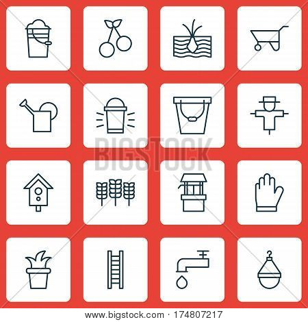 Set Of 16 Plant Icons. Includes Spigot, Growing Plant, Sweet Berry And Other Symbols. Beautiful Design Elements.