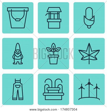 Set Of 9 Holticulture Icons. Includes Garden Clothes, Pail, Water Monument And Other Symbols. Beautiful Design Elements.