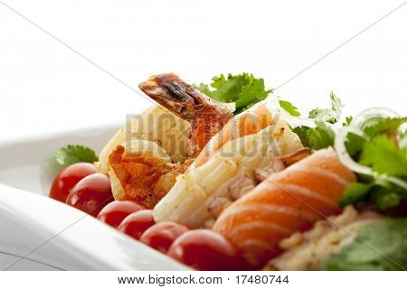 Seafoods with Vegetables and Herbs poster