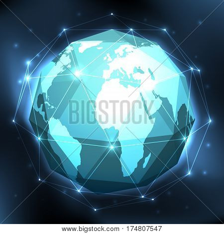 Geometric polygonal globe with world map on dark space background