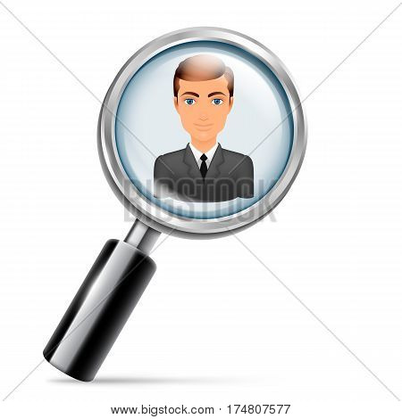 Magnifying glass focused on young employee in bussiness suit