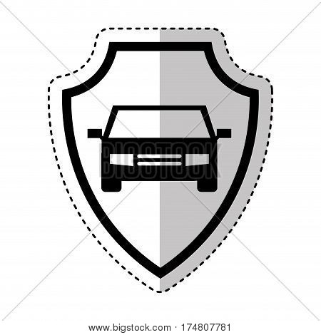 shield insurance with car isolated icon vector illustration design