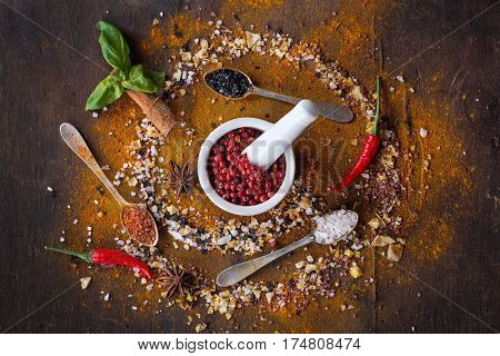 Variety Of Salt And Spices