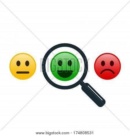 Find positive people concept. Magnifying glass with positive and negative emoticon or smiley. Search positive emoticon among negative emoticons. Vector color illustration.