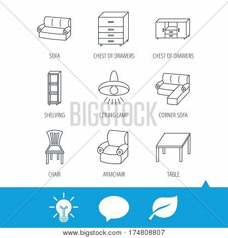 Corner sofa, table and armchair icons. Chair, ceiling lamp and chest of drawers linear signs. Shelving, furniture flat line icons. Light bulb, speech bubble and leaf web icons. Vector
