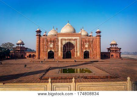 Entrance to a mosque masjid next to Taj Mahal, Agra, India