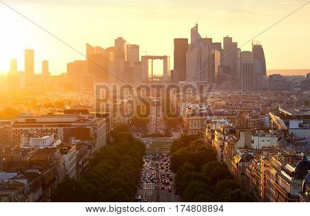View on the modern district la Defense in Paris