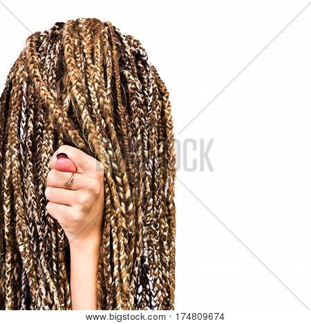 close up portrait of young woman dreadlocks gesturing with finger hand