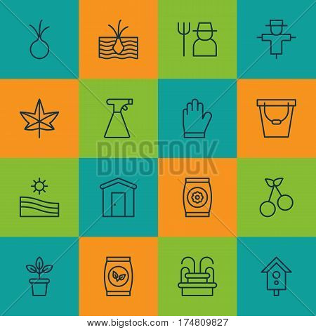 Set Of 16 Gardening Icons. Includes Birdhouse, Flowerpot, Pail And Other Symbols. Beautiful Design Elements.