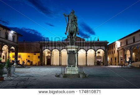 Piazza della Santissima Annunziata and statue of Ferdinando I de Medici in Florence