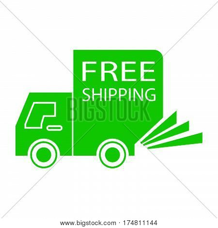 simple flat colour free shipping truck small icon vector