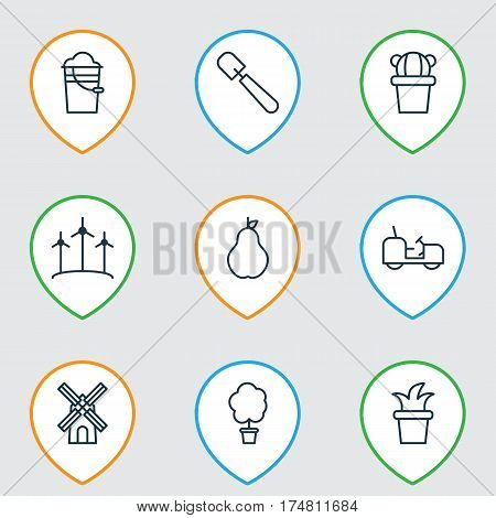 Set Of 9 Agriculture Icons. Includes Bush Pot, Bucket, Desert Plant And Other Symbols. Beautiful Design Elements.