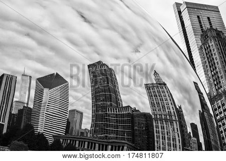 Chicago - Circa October 2009: Cloud Gate also known as the Bean in Millennium Park on a Cloudy Day I