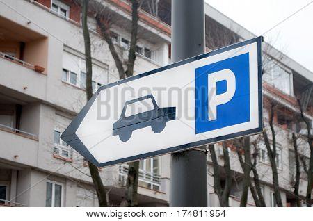 Traffic sign indicating parking place, Novi Sad, Serbia