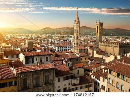 View on towers Bargello and Badia Fiorentina in Florence, Italy