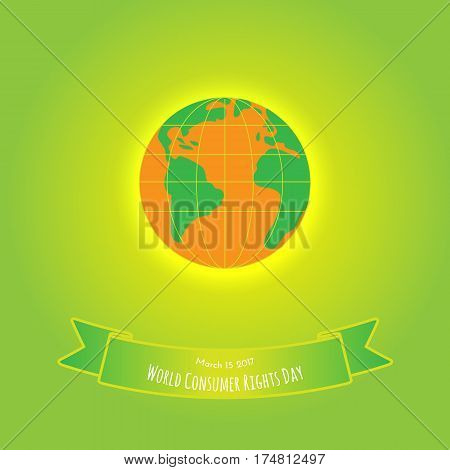 Orange earth with green on green-yellow background. World Customers Day illustration.